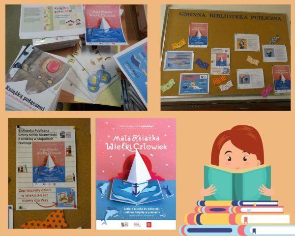 Kolaż zdjęć. Wyprawka i plakaty projektu Mała książka wielki człowiek.