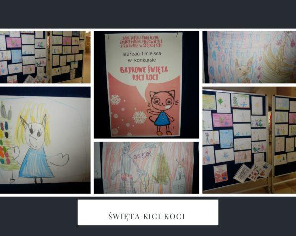 Kolaż zdjęć. Plakat konkursu Bajkowe święta Kici Koci, prace dzieci.
