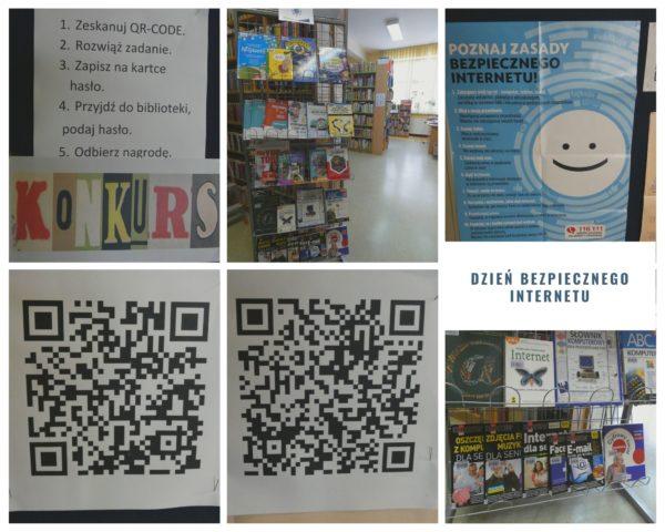 Kolaż zdjęć. Wystawka książek, plakat Poznaj zasady bezpiecznego Internetu, konkurs, QR-cody