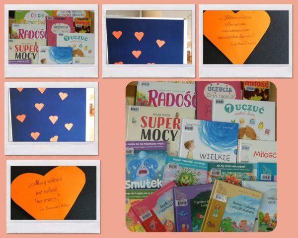 Kolaż zdjęć. gazetka ścienna serca, zdjęcia książek dla dzieci o emocjach