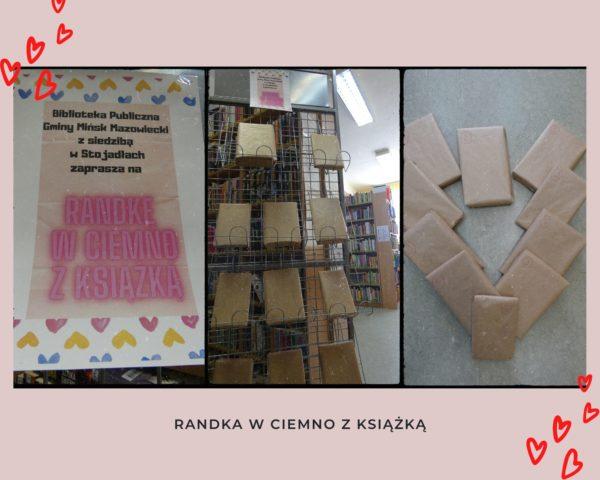 Kolaż zdjęć. Plakat Randka w ciemno z książką, zapakowane książki, wystawka książek