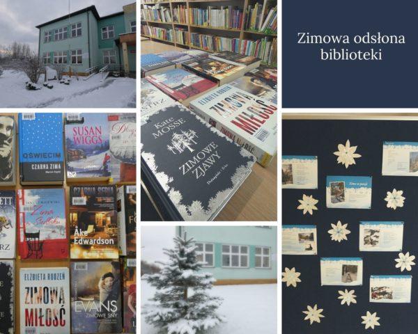 Kolaż zdjęć. gazetka ścienna zima w poezji, książki z zimą w tytule, budynek biblioteki w zimowej odsłonie