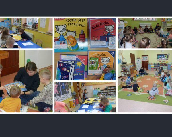 """Kolaż zdjęć. Zajęcia w przedszkolu """"Kicia Kocia w bibliotece"""", zdjęcia książek i gadżetów od wydawnictwa."""