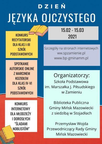 plakat informacja o gminnych obchodach dnia języka ojczystego. Organizatorzy, data, działania