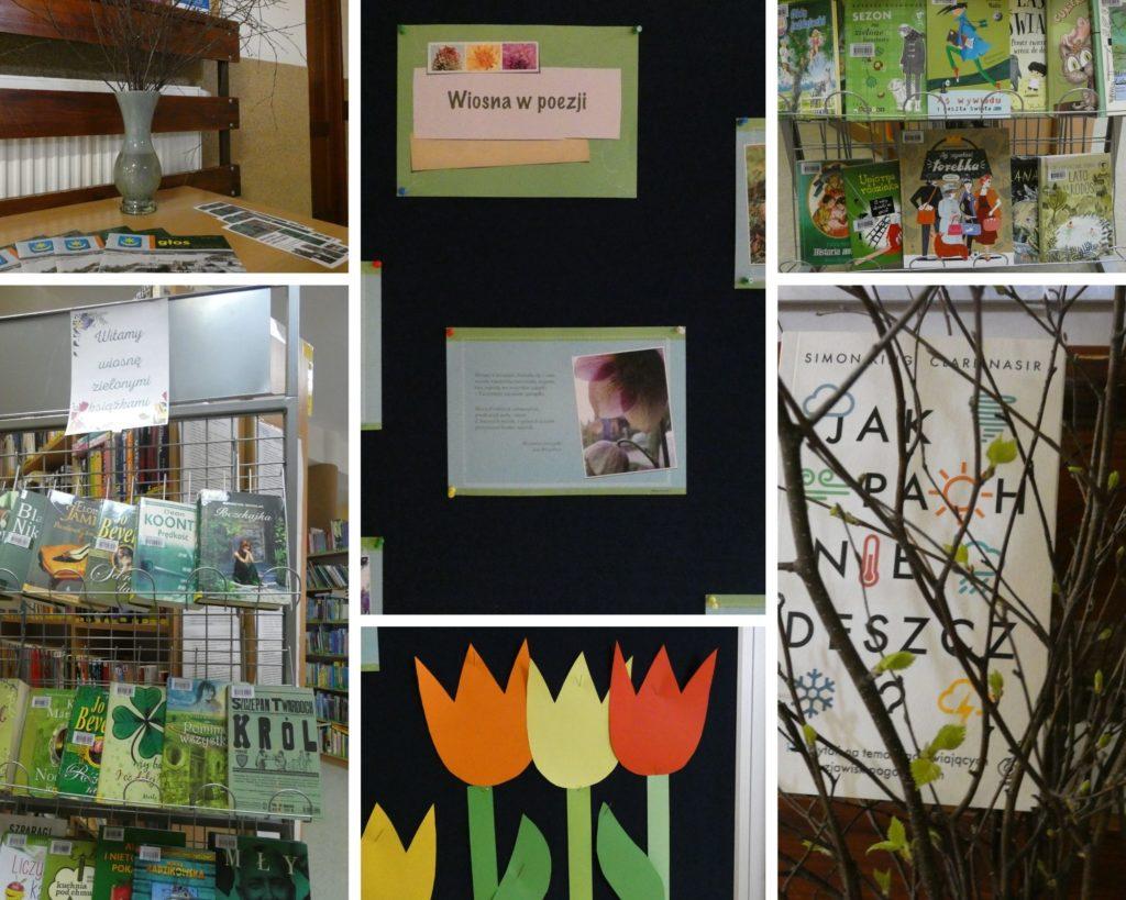 """kolaż zdjęcia gazetka ścienna wiosna w poezji, wystawka książek """"witamy wiosnę zielonymi książkami"""""""