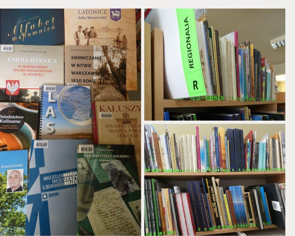 Kolaż zdjęć książki z działu regionalia. Na jednym zdjęciu nowości z działu regionalia, na dwóch zdjęciach półki z książkami z działu regionalia. Na jednym zdjęciu widoczny obok książek napis regionalia