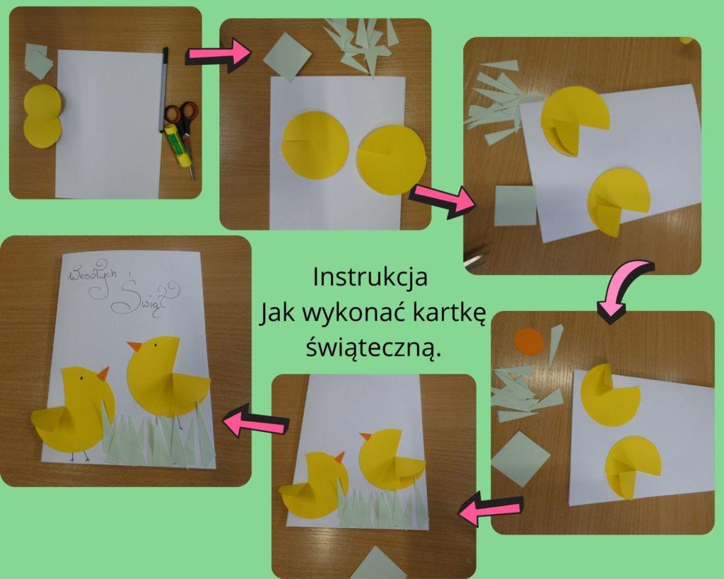 Instrukcja jak wykonać kartkę świąteczną pięć zdjęć prezentujących etapy powstawania kartki świątecznej