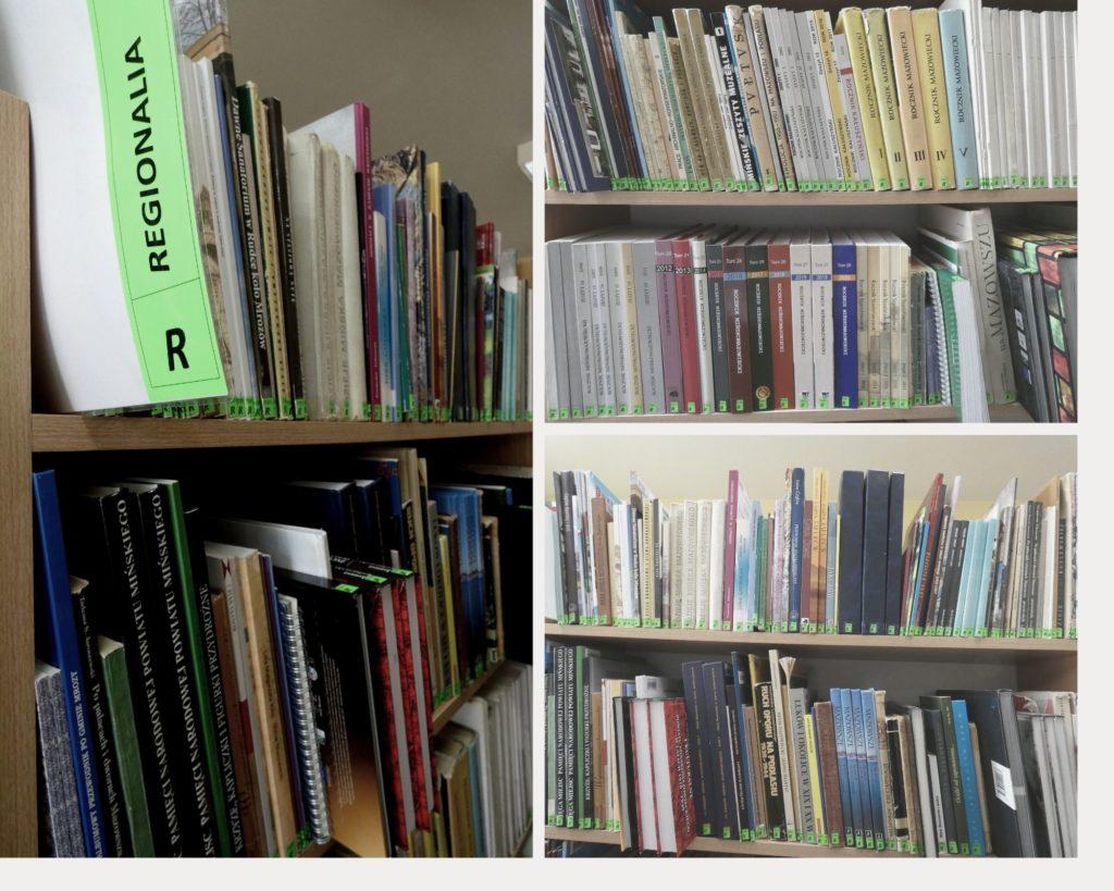 Kolaż zdjęć, 3 zdjęcia przedstawiające półki z książkami z działu regionalia dostępne w bibliotece.
