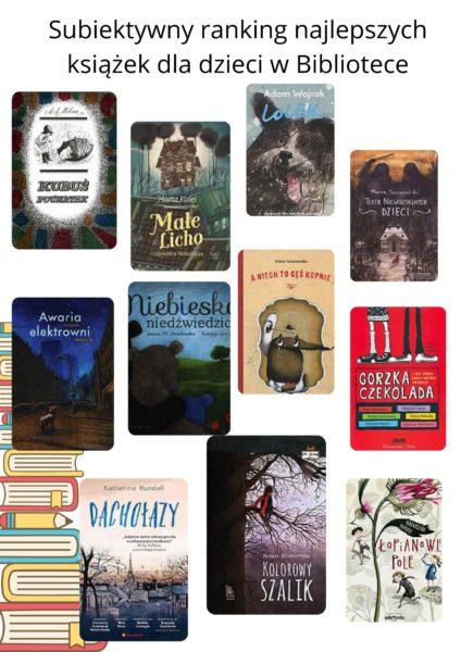 """Kolaż zdjęć okładek książek """"Subiektywny ranking najlepszych książek dla dzieci w Bibliotece""""."""