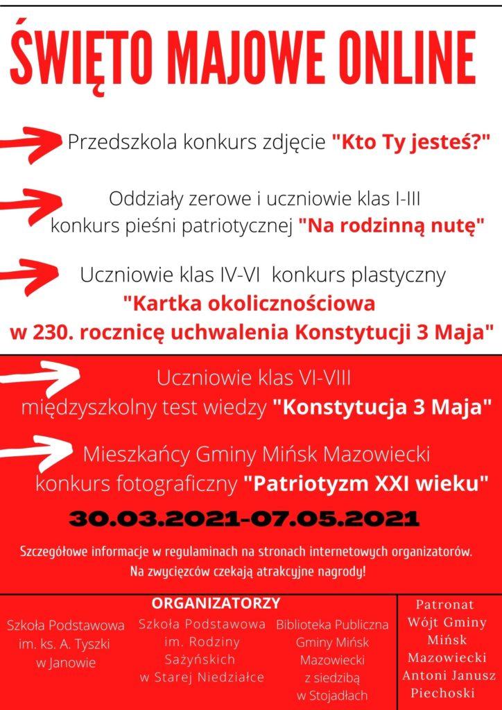 Plakat z informacją o konkursach Święto majowe online, organizatorzy, patronat
