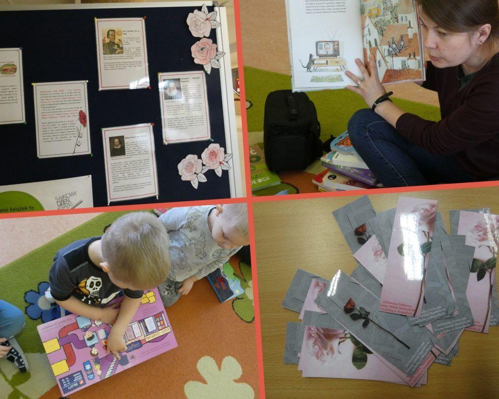Zdjęcie zawiera kolaż zdjęć. Na jednym zdjęciu gazetka ścienna z informacjami o dniu książki i praw autorskich, Na drugim zdjęcie kobiety czytającej książkę, na trzecim zdjęcie dzieci oglądających książki. Na czwartym zdjęciu zakładki z różami.