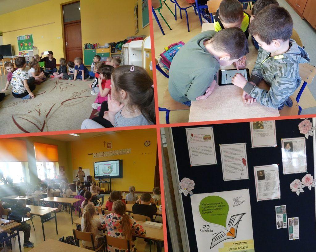 Kolaż zdjęć, na trzech zdjęciach dzieci w klasie słuchające opowiadania, na jednym zdjęciu gazetka z informacjami o dniu książki i praw autorskich.