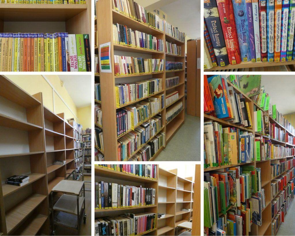 kolaż zdjęć regały z książkami, grzbiety książek z działu III dla dzieci i młodzieży z sygnaturami obrazkowymi