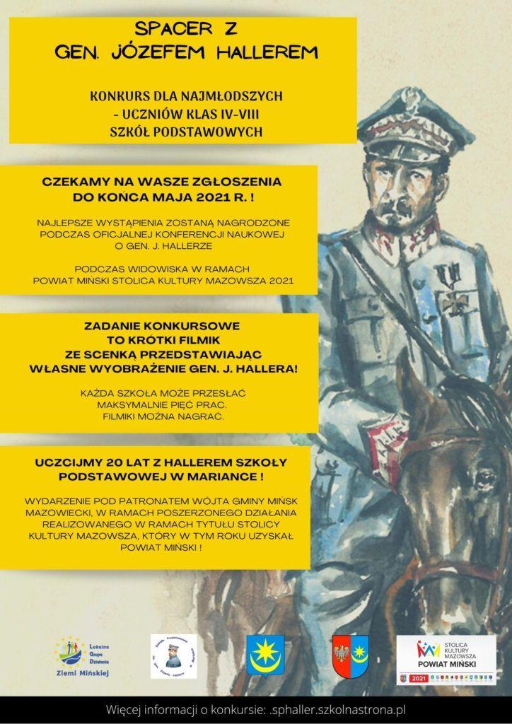 Plakat konkursu Spacer z Hallerem informacje o konkursie