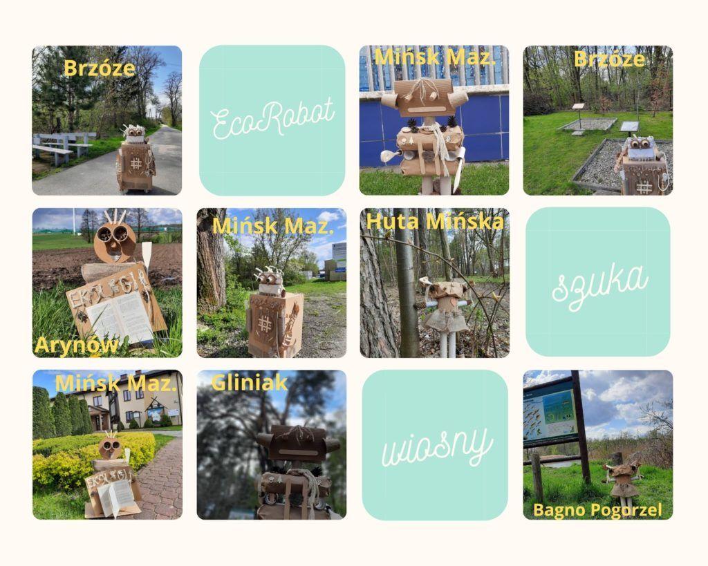 kolaż zdjęć, zdjęcia ecorobotów na tle drzew, pola, budynków