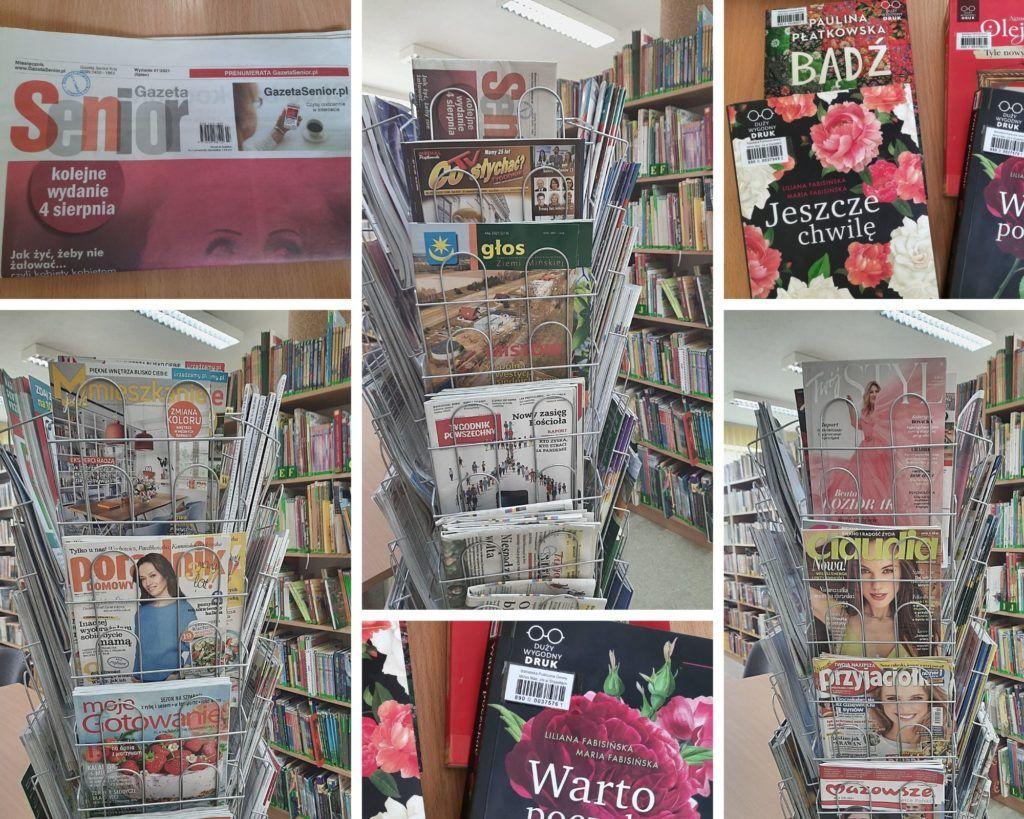 Kolaż zdjęć, zdjęcia przedstawiające wystawkę czasopism w bibliotece, książki z duzym drukiem oraz miesięcznik gazeta senior